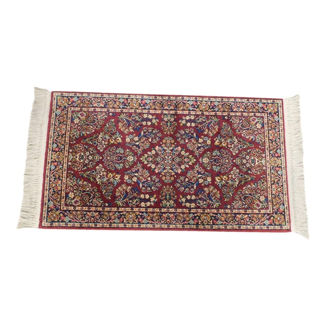 Karastan Red Sarouk #785 Rug 5' x 2' Multicolor Area Throw Rug For Sale