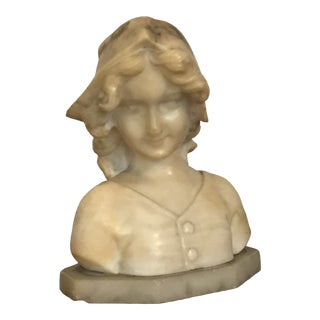 19th Century Continental Carved Marble Bust For Sale