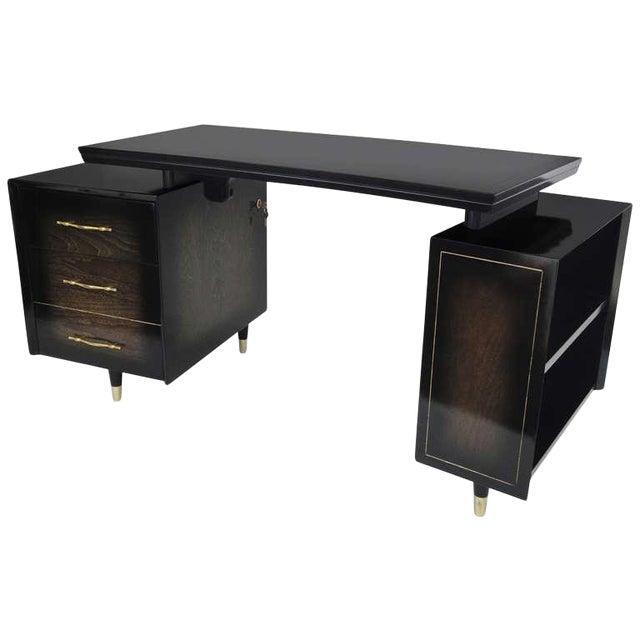 1960s Mid Century Modern Curved Partner Desk For Sale