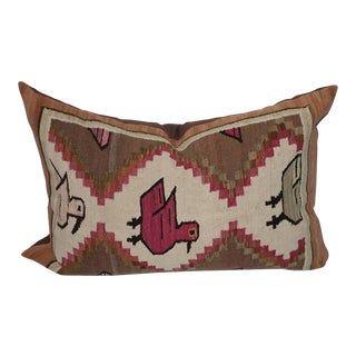 Mexican Pictorial Indian Weaving Bolster Pillow For Sale