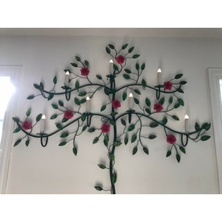 Italian Toleware Flower Rose Tree Wall Lamp Preview