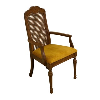 Bernhardt Furniture Co. French Country Cane Back Dining Arm Chair For Sale