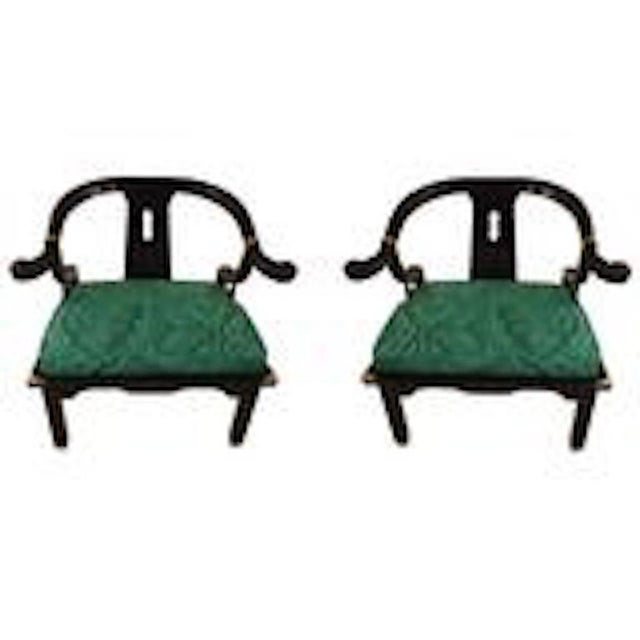 Asian Mid-Century Black Lacquer Chinese Style Chairs - a Pair For Sale - Image 3 of 4