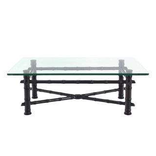 Faux Bamboo Black Lacquer Glass Top Coffee Table For Sale