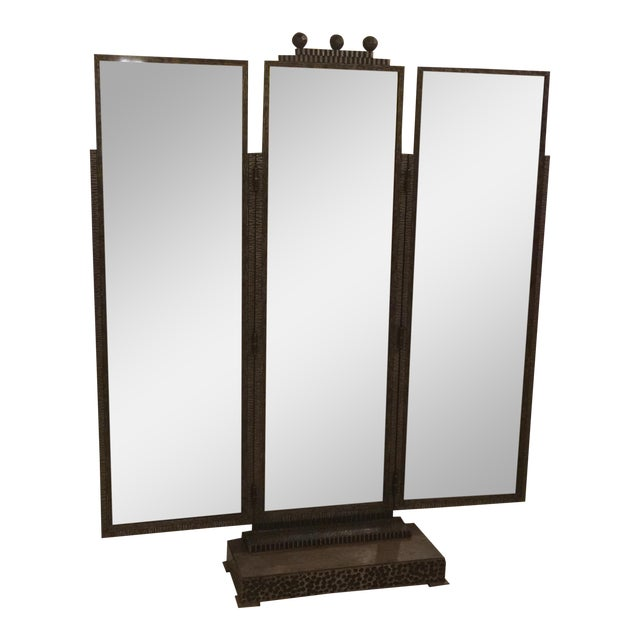BEAUTIFUL JULES BUOY ART DECO WROUGHT IRON TRIFOLD FLOOR STANDING MIRROR For Sale