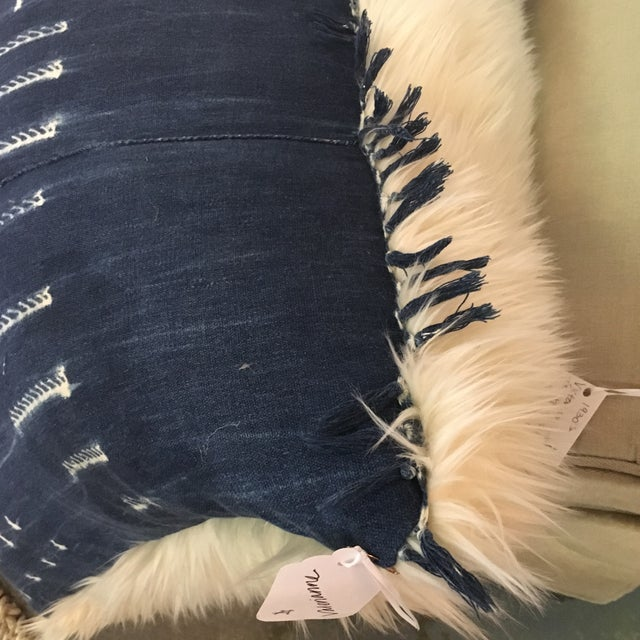 Boho Style Indigo & Fur Pillow - Image 3 of 4