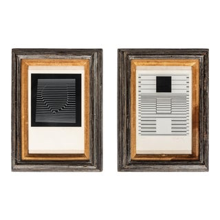 Mid 20th Century Signed, Numbered Art Prints by Victor Vasarely in Wood Frames - a Pair For Sale