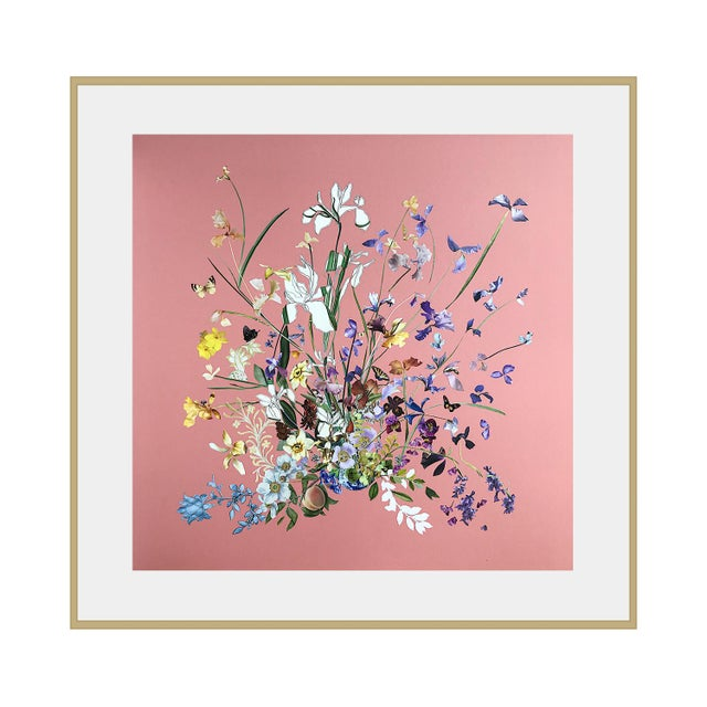 Meadow Floral Collage by Marcy Cook, Framed For Sale - Image 9 of 9