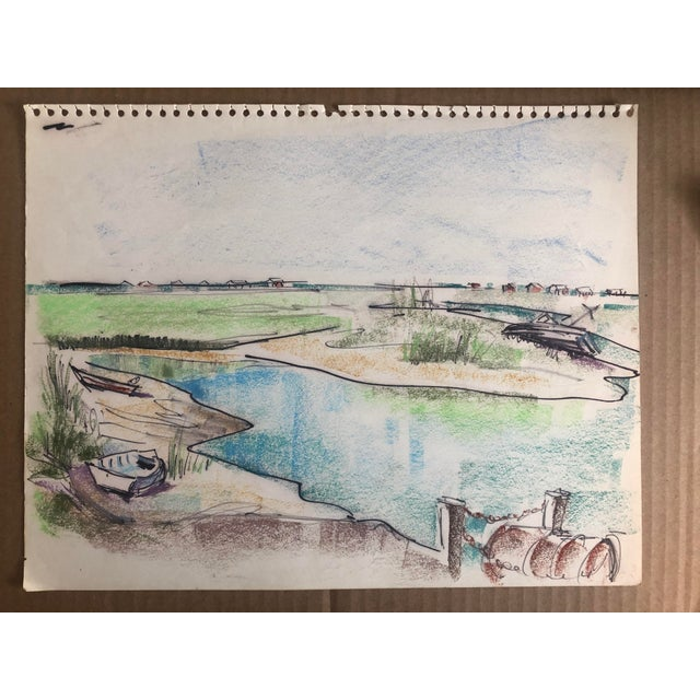 Drawing/Sketching Materials Mid-Century Pawley's Island Sc Lowcountry Marsh Scene, 1966 For Sale - Image 7 of 7