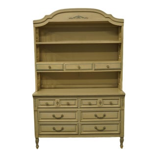 French Provincial Dixie Furniture Cream Painted Double Dresser with Bookcase Hutch For Sale