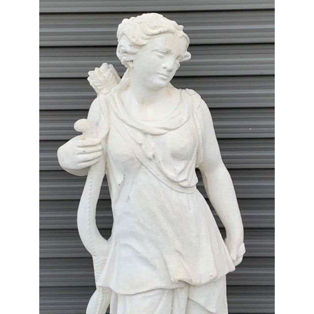 Pair of Vintage Cast Stone Statues of Apollo & Diana For Sale - Image 10 of 11