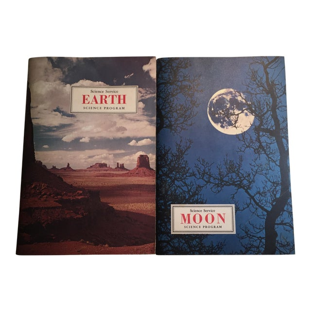 1967 Earth and Moon Science Service Books - Set of 2 For Sale