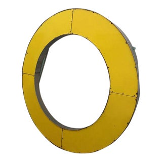 Vintage Porcelain and Chrome Yellow Sign Letter 'O' For Sale