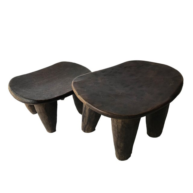 Abstract African Senufo Wood Milk Stool I . Coast S/ 2 For Sale - Image 3 of 9