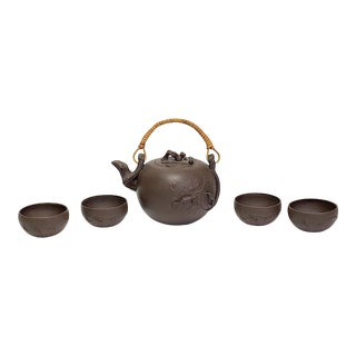Vintage Chinese Yixing Zisha Tea Set - 5 Pieces For Sale