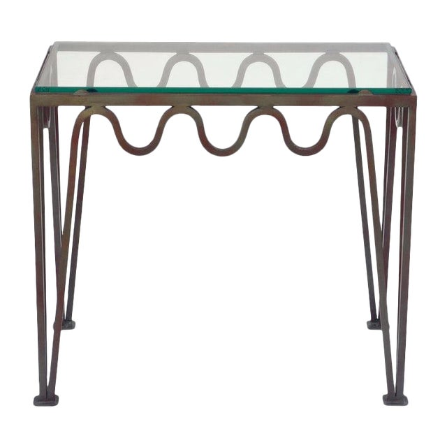 """Contemporary """"Méandre"""" Verdigris Iron and Glass Side Table For Sale"""