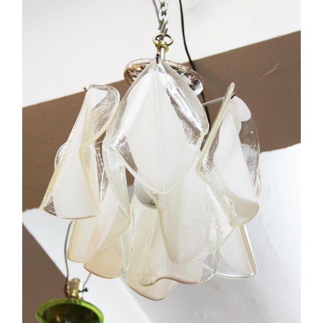 Modern Italian Modern Murano Glass Handkerchief Pendant For Sale - Image 3 of 8