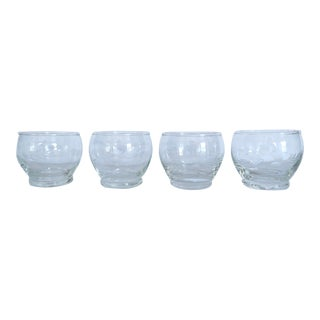 Vintage Etched Glass Salt Cellar Bowl Set of 4 For Sale