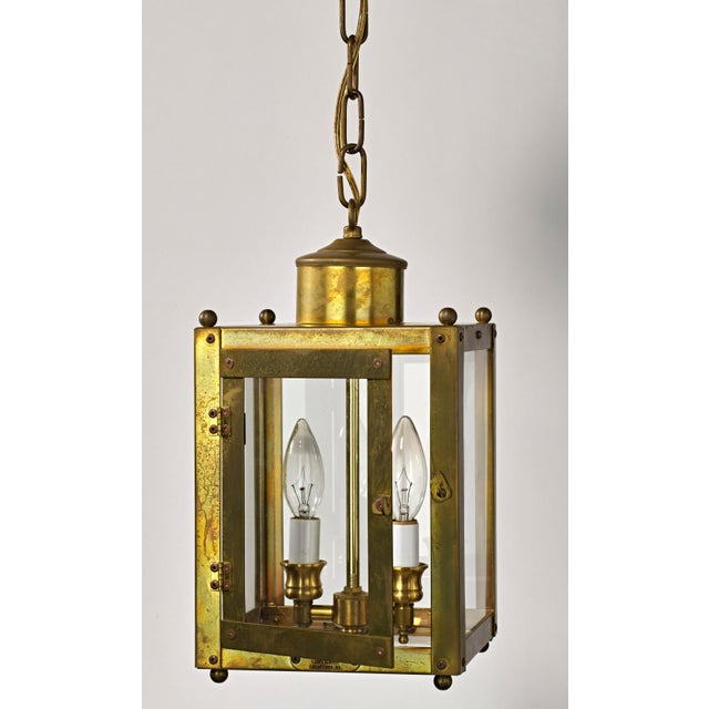 Late 20th Century Traditional Brass and Glass Two Light Lantern For Sale - Image 10 of 13