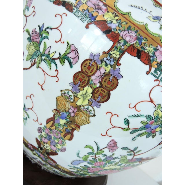 20th Century Chinese Rose Canton Gilt & Lucky Coin Porcelain Planter, Swatow For Sale In Tampa - Image 6 of 10