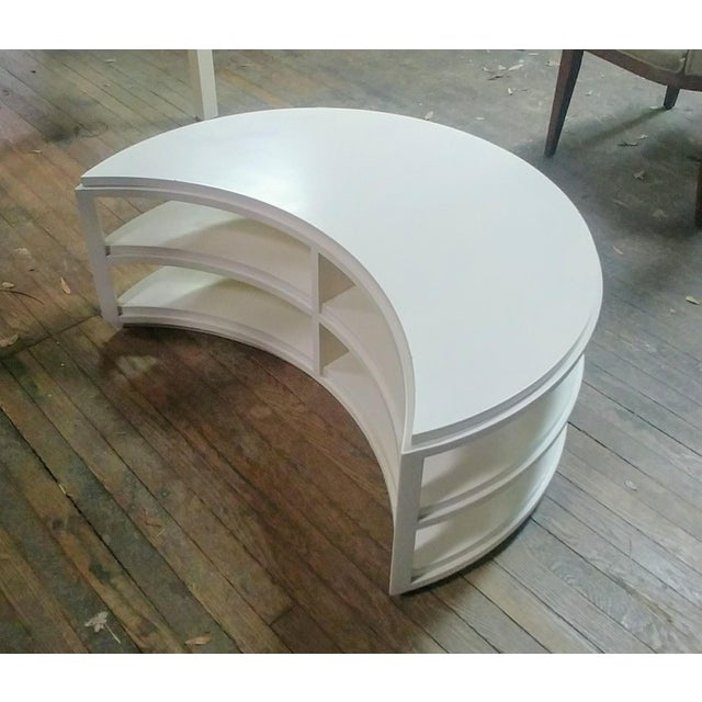 Mid-Century Modern Henredon Furniture White Dove Crescent Occasional Table For Sale - Image 3 of 7