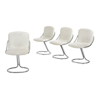 Set of Four Italian White Chrome Cantilever Dining Chairs, 1970 For Sale