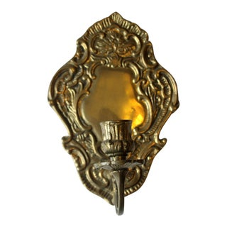 1950s Solid Brass Wall Candle Holder For Sale