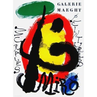 (after) Joan Miró Murales Peintures, 1961 Galerie Maeght Exhibition Poster 1961 For Sale