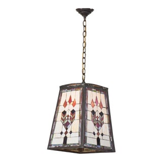 Prairie School Leaded Glass Art & Crafts Pendant Light