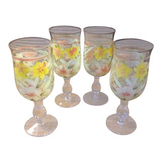 Vintage Hand Painted Yellow and Pink Flowers Crystal Goblet Glasses - Set of 4 For Sale