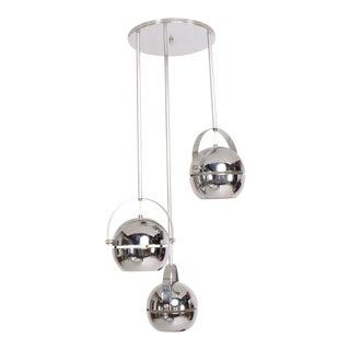 Mid-Century Modern Chrome-Plated Pendant Light Chandelier For Sale