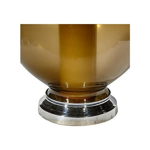 1970s Smoked Glass Table Lamp For Sale - Image 5 of 5