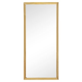 Tall Rectangular Solid Brass Mirror For Sale