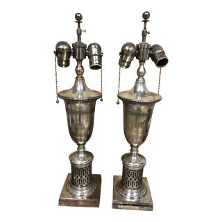 English Traditional Antiqued Chrome Finish Table Lamps - a Pair For Sale