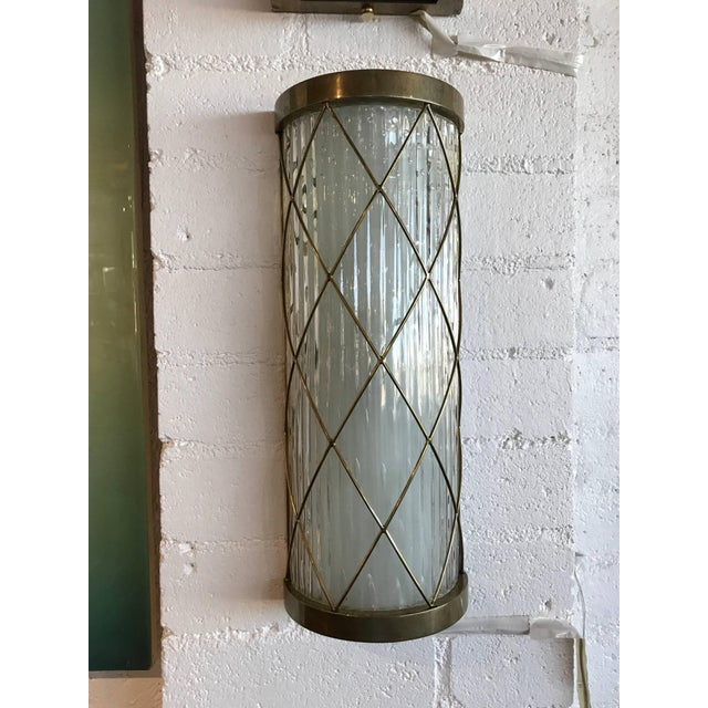 Wall-Mounted Brass and Glass Sconces- A Pair For Sale - Image 4 of 8