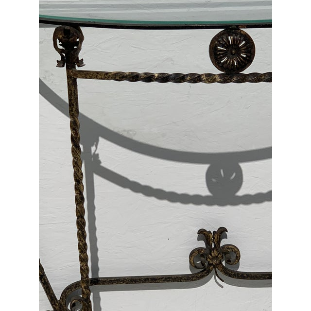 Gold 1920's Italian Glass Top Gold Leaf Painted Wrought Iron Demi-Lune Accent Table For Sale - Image 8 of 11