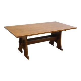 Stickley Mission Collection Oak Keyhole Trestle Dining Table For Sale