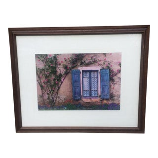 Blue Shutter Window - Loire Valley France Photograph For Sale