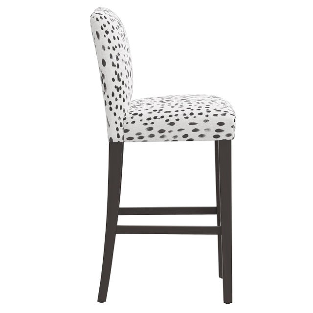 Transitional Bar stool in Linen Leopard Ink For Sale - Image 3 of 8