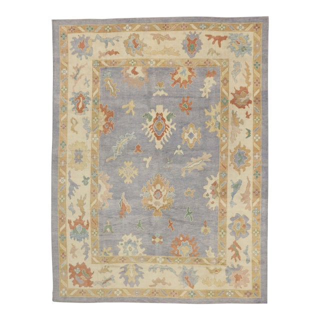 Contemporary Turkish Oushak Rug in Pastel Colors Boho Chic Style, 9'5 x 12'5 For Sale