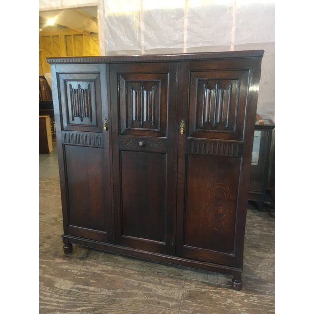 Antique English Solid Oak Linen Press or Armoire - Image 3 of 11