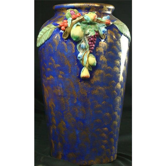 Italian Majolica Blue Ceramic Umbrella Stand Vase - Image 5 of 9