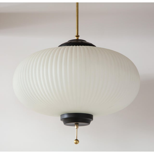 Metal Stilnovo Ribbed Milk Glass Globe Lantern For Sale - Image 7 of 13