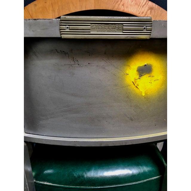 Metal 1950s Vintage Beefy Steelcase Banker Rolling Desk Chair For Sale - Image 7 of 11