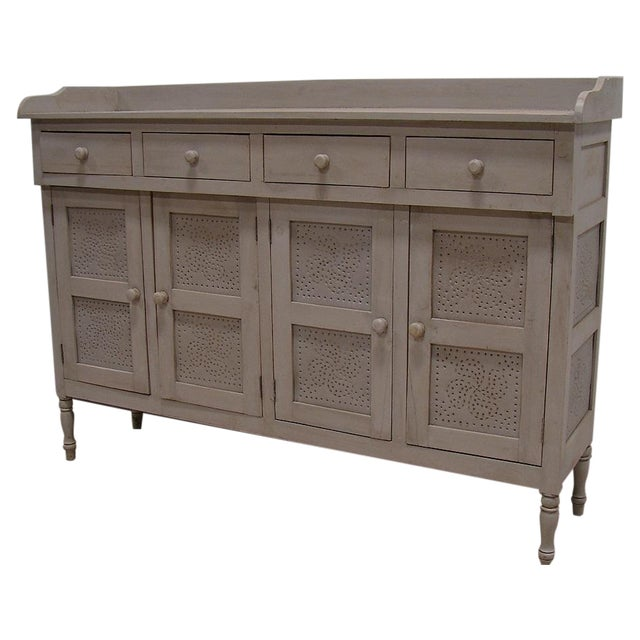 Gray Paint Vintage Style Hutch Server Pie Cabinet - Image 1 of 4