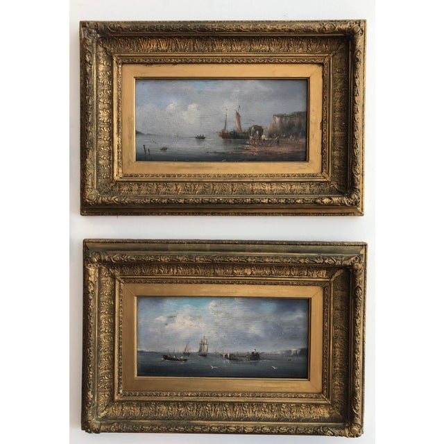 Late 19th Century Oil Seascape Paintings - a Pair For Sale - Image 9 of 9