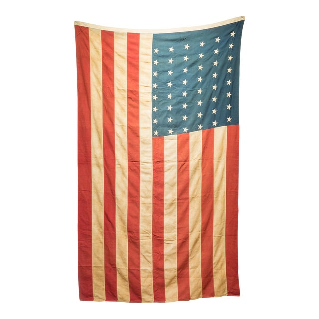 Early 20th C. Large American Flag With 48 Stars C. 1940 For Sale