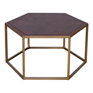 Sarreid Hexagonal Embossed Leather Top Table For Sale
