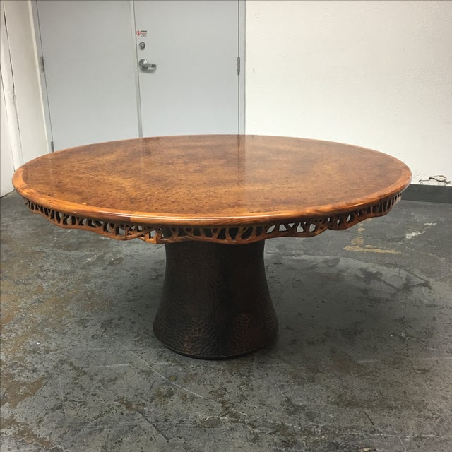 Brand new Hedgerow Circular Dining Table #1010. Designed by Martin Pierce. The top surface is a starburst myrtle burl and...