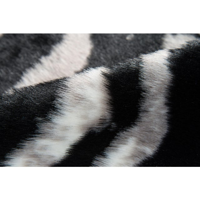 "Erin Gates by Momeni Acadia Zebra Black Faux Hide Area Rug - 5'3"" X 7'10"" For Sale - Image 4 of 7"